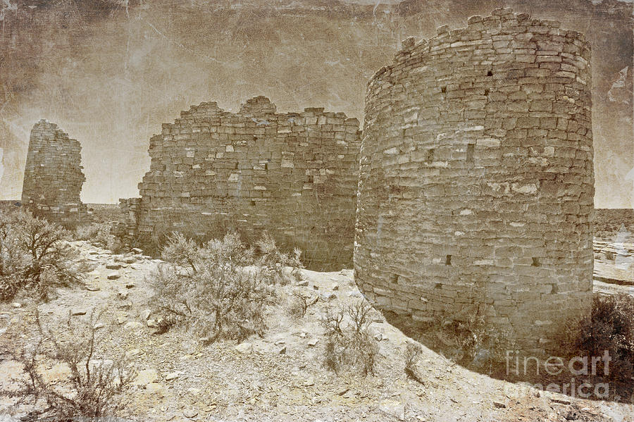 Ruin Photograph - Vintage Hovenweep Castle by Bob and Nancy Kendrick