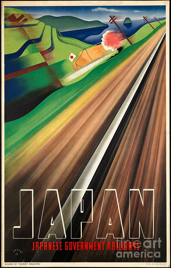 Japan Photograph - Vintage Japanese Government Railways Poster by George Pedro