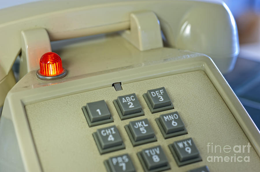 Vintage Keypad Phone With Red Light At Kitchen Hatch Photograph by ...