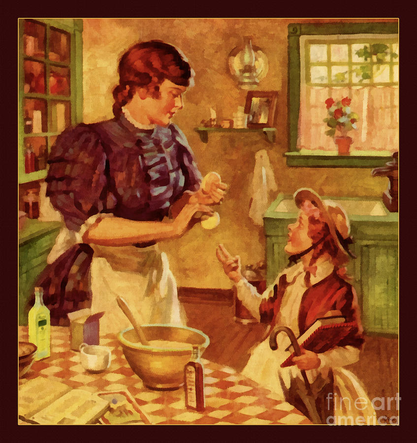 Vintage kitchen scene circa 1900 painting by anne kitzman for Kitchen paintings pictures