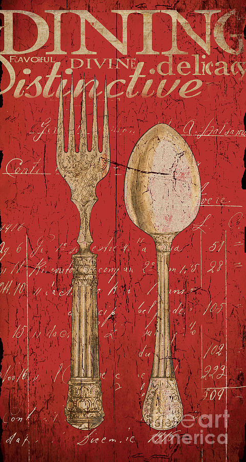 Dining Painting - Vintage Kitchen  Utensils In Red by Grace Pullen