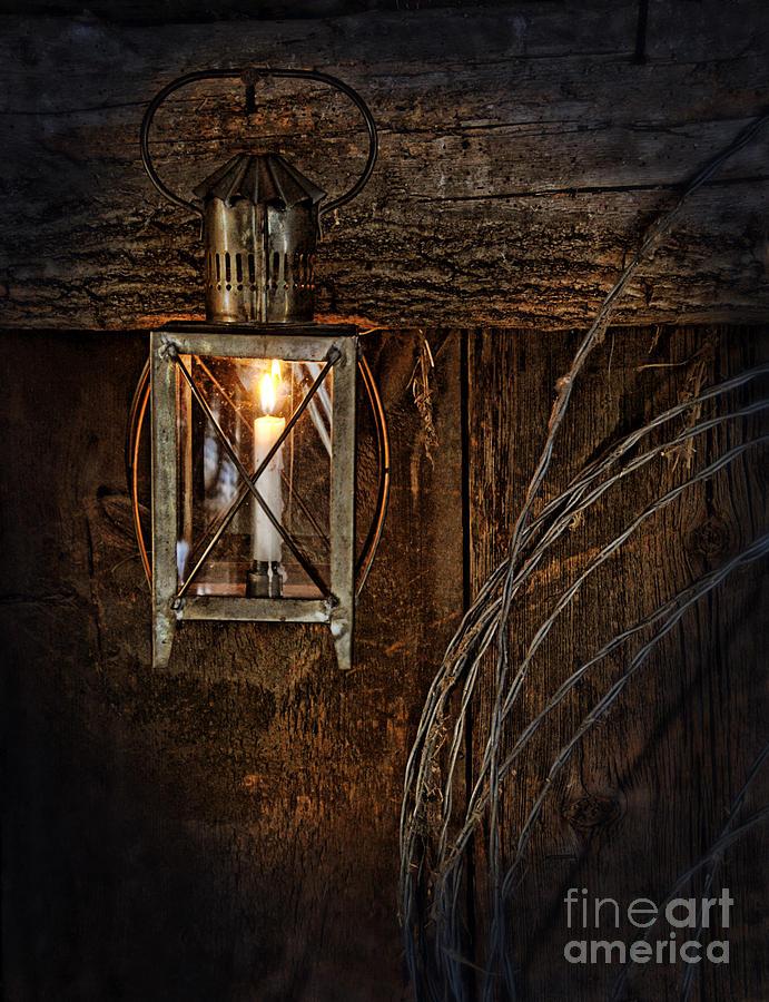 Lantern Photograph - Vintage Lantern Hung In A Barn by Jill Battaglia