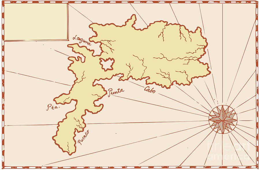 Illustration Digital Art - Vintage Map Of Island by Aloysius Patrimonio