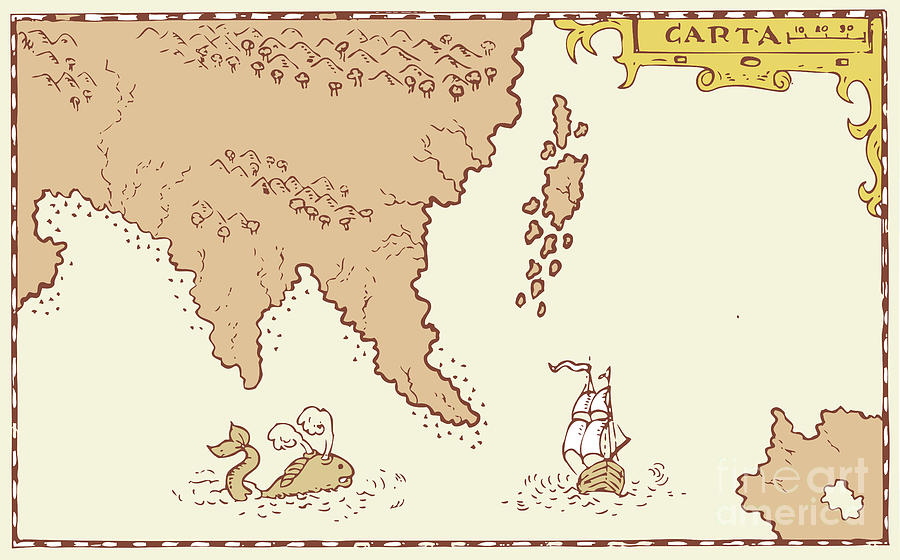 Illustration Digital Art - Vintage Map Treasure Island Tall Ship Whale by Aloysius Patrimonio