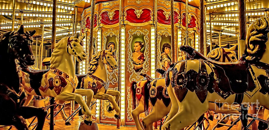Amusement Photograph - Vintage Merry-go-round  by Alexandra Jordankova