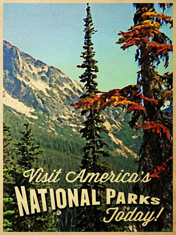 Vintage National Parks Digital Art By Flo Karp