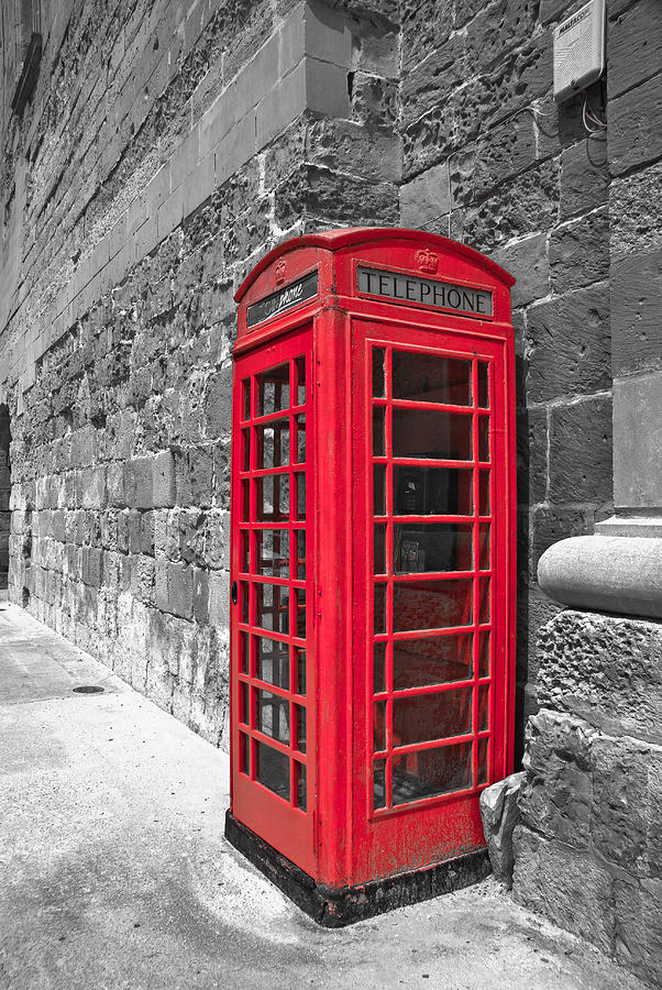 vintage photograph vintage red phone booth by preston coe
