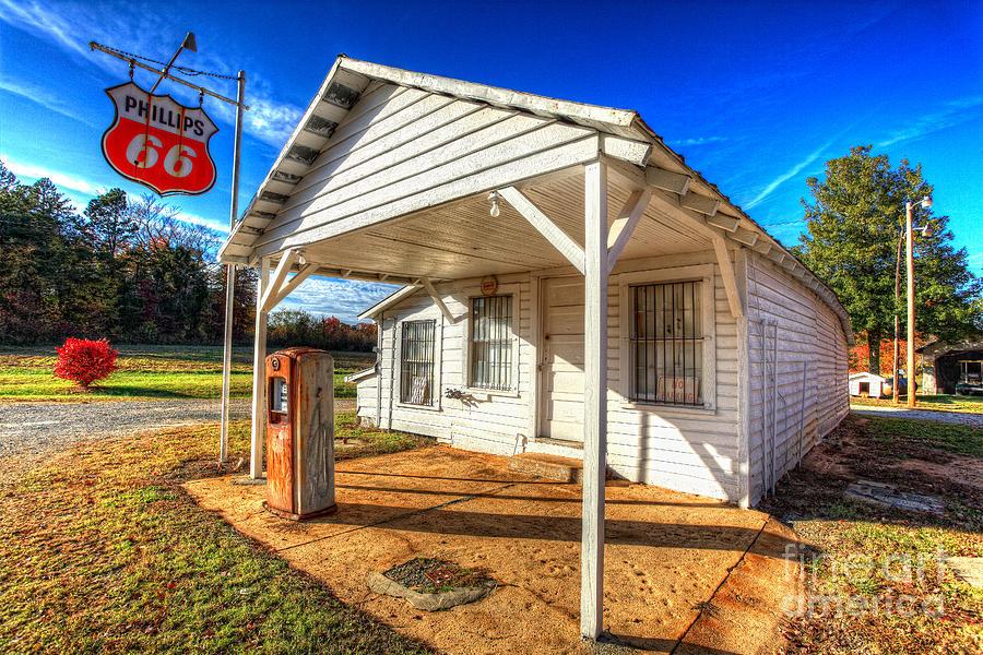Gas Station Photograph - Vintage Rural One Pump Gas Station by Dan Carmichael