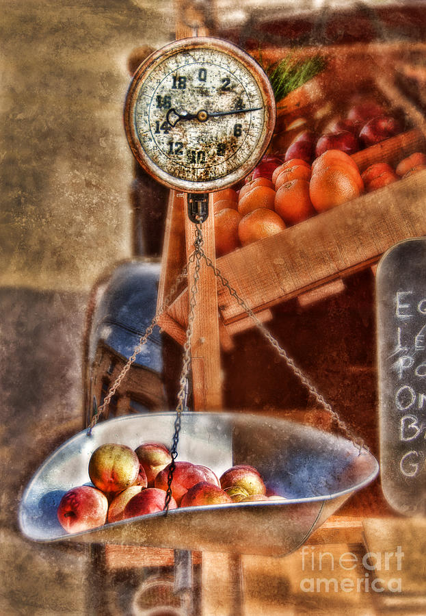 Scale Photograph - Vintage Scale At Fruitstand by Jill Battaglia