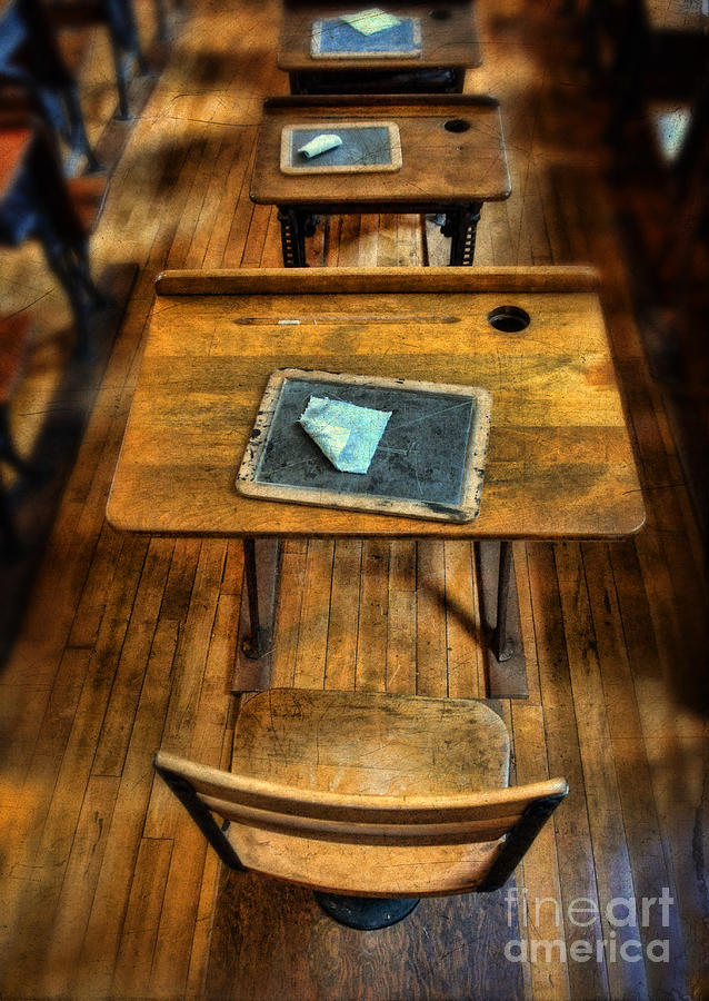 School Photograph - Vintage School Desks by Jill Battaglia