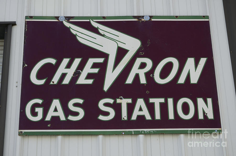 signage photograph vintage sign for chevron gas stations by bob christopher