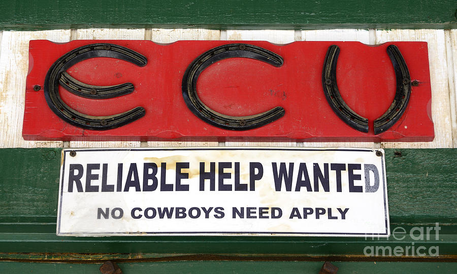 Signage Photograph - Vintage Sign For Cowboys by Bob Christopher