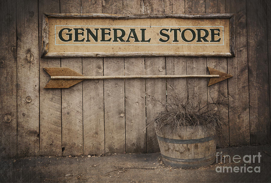 Aged Photograph - Vintage Sign General Store by Jane Rix
