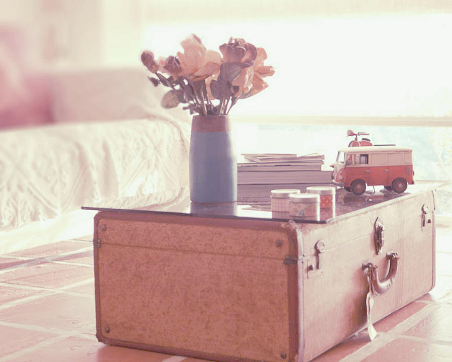 Horizontal Photograph - Vintage Suitcase by Carmen Moreno Photography