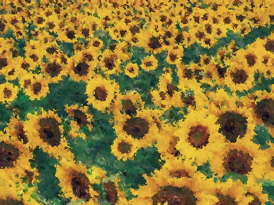 vintage sunflower painting art painting by nhan ngo