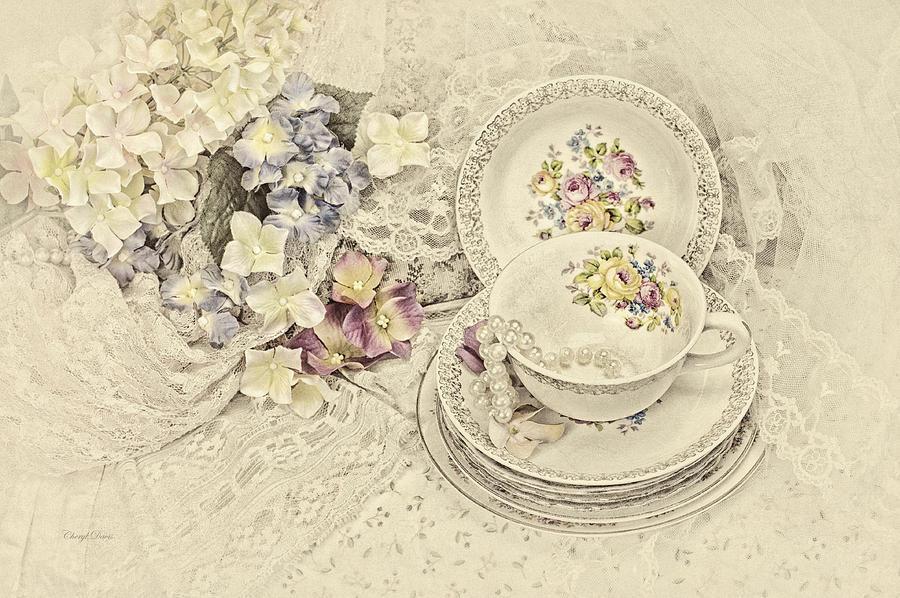 Teacup Photograph - Vintage Tea Time by Cheryl Davis