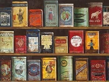 Vintage Tins Painting by Fabrice de Villeneuve