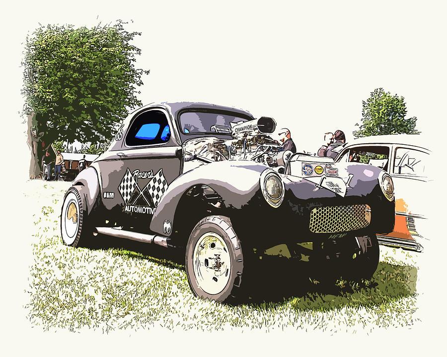 Hot Rod Photograph - Vintage Willys Gasser by Steve McKinzie