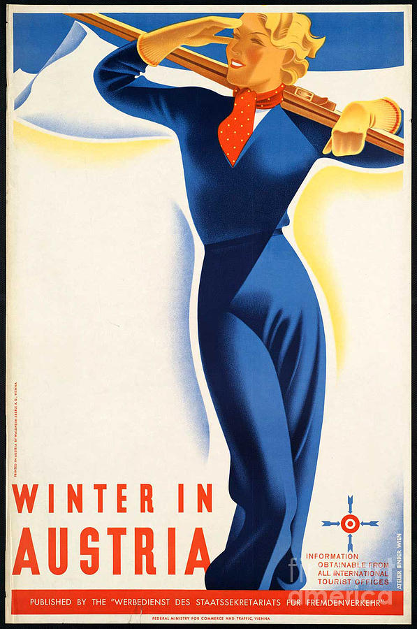 Winter Photograph - Vintage Winter In Austria Travel Poster by George Pedro