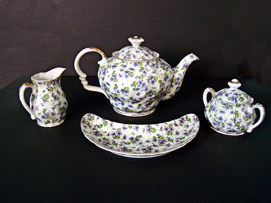 Teapot Photograph - Viola Teapot With Creamer And Sugar Bowl by Nick Kloepping