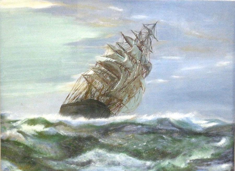Violent Sea Painting - Violent Sea -oil Painting by Rejeena Niaz