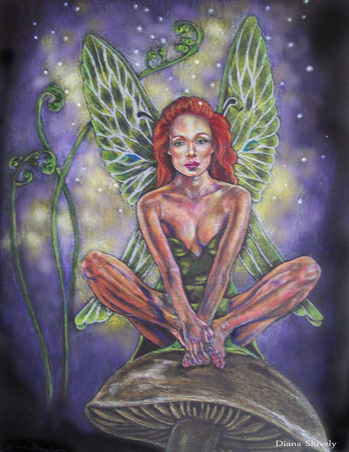Fairy Drawing - Violet Light by Diana Shively