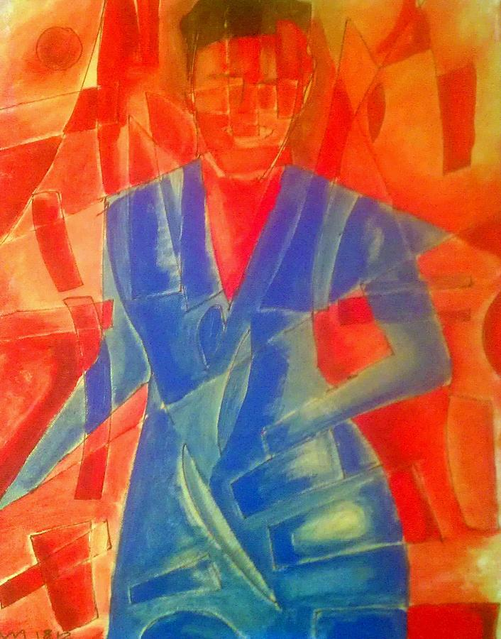 Acrylic Painting - Violette Blue Dress by Ari Meier