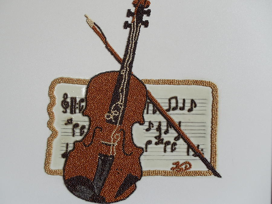 Violin Of Seeds Painting - Violin by Kovats Daniela