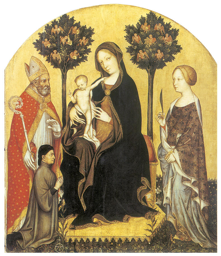 Gentile Da Fabriano Painting - Virgin And Child Enthroned by Gentile Da Fabriano