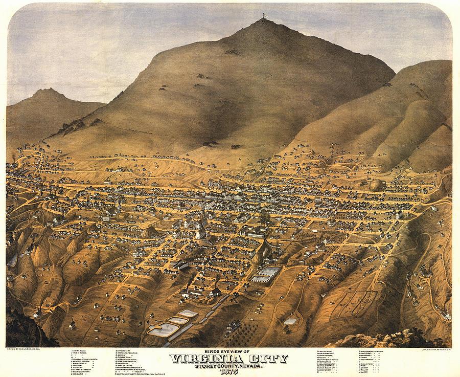 Panoramic Map Digital Art - Virginia City Nevada 1875 by Donna Leach