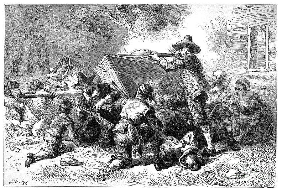 Virginia: Indian Attack Photograph by Granger