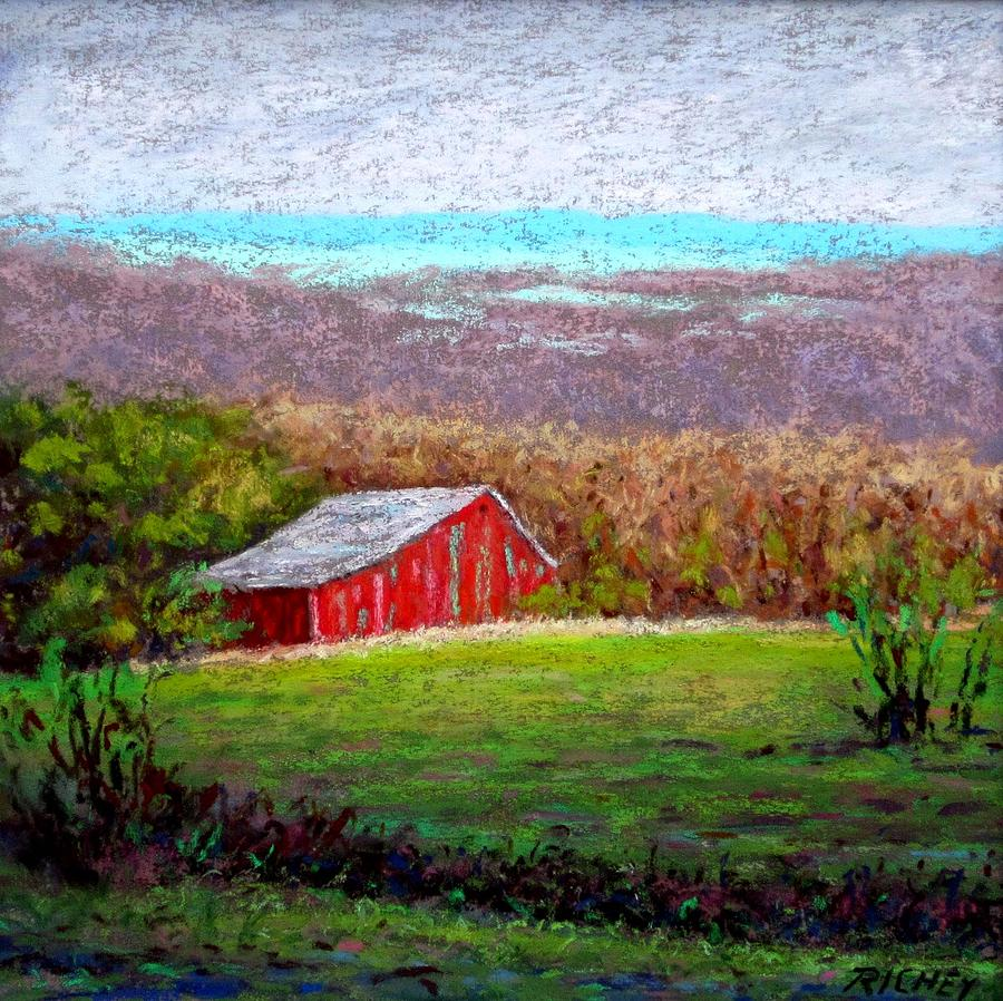 Pastel Pastel - Vista With Red Barn by Bob Richey