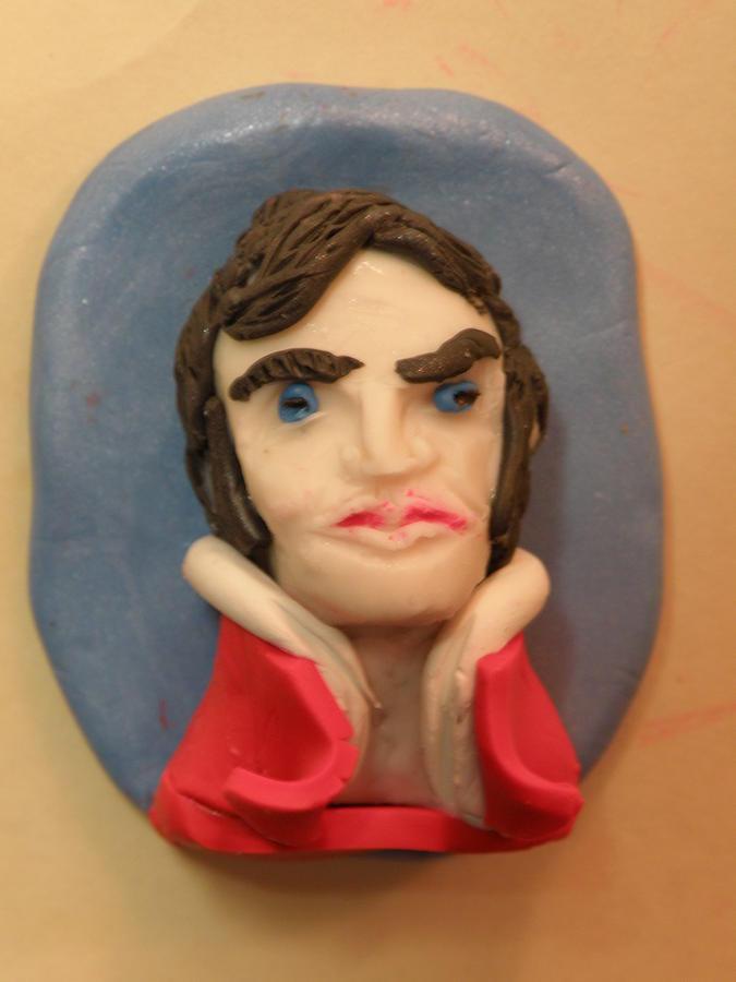 Polymer Clay Jewelry - Viva Elvis Pin 1a by M Brandl