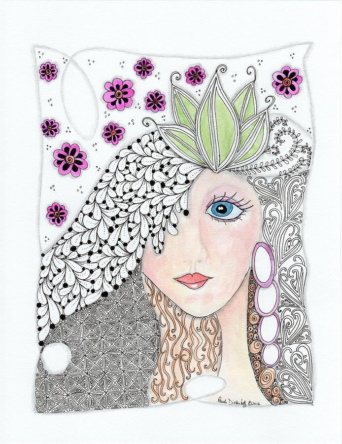 Zentangle Drawing - Vivian by Paula Dickerhoff