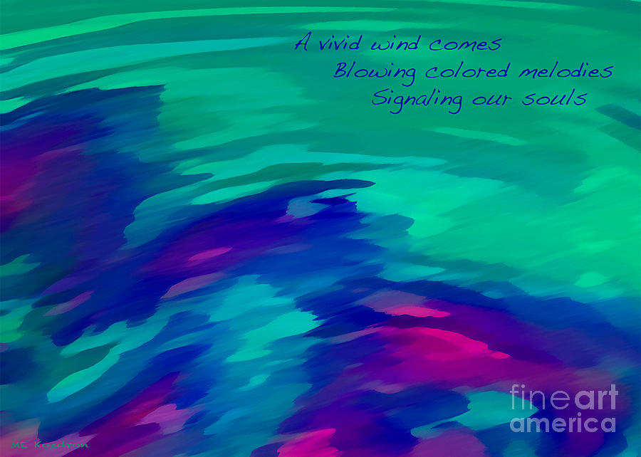 Abstract Digital Art - Vivid Wind Haiku by ME Kozdron