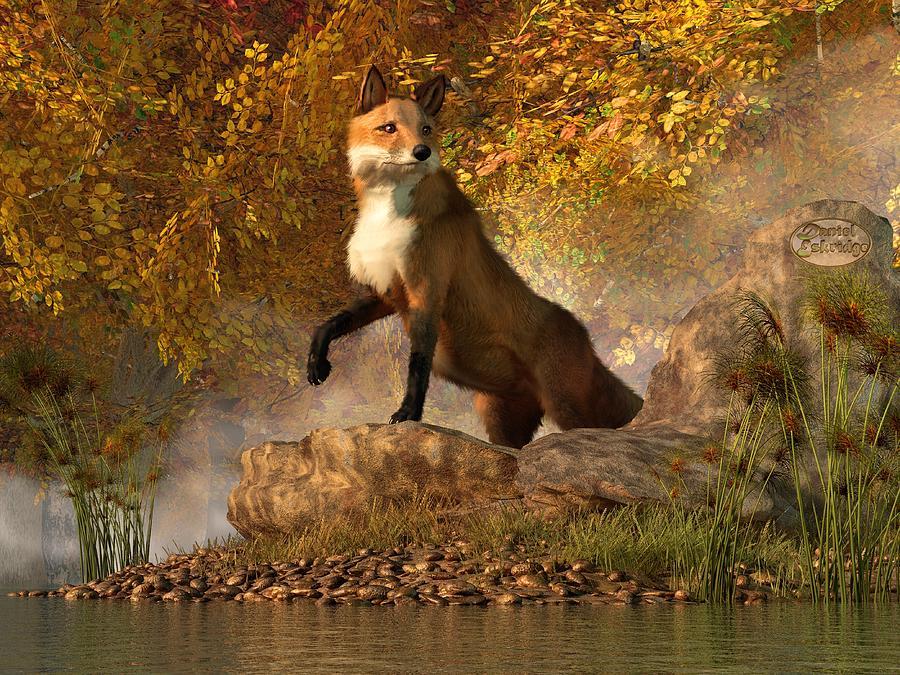 Fox Digital Art - Vixen By The River by Daniel Eskridge