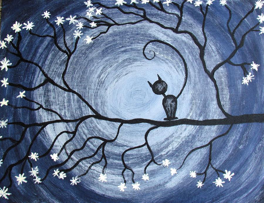Cat Painting - Vortex by Diana Martinez