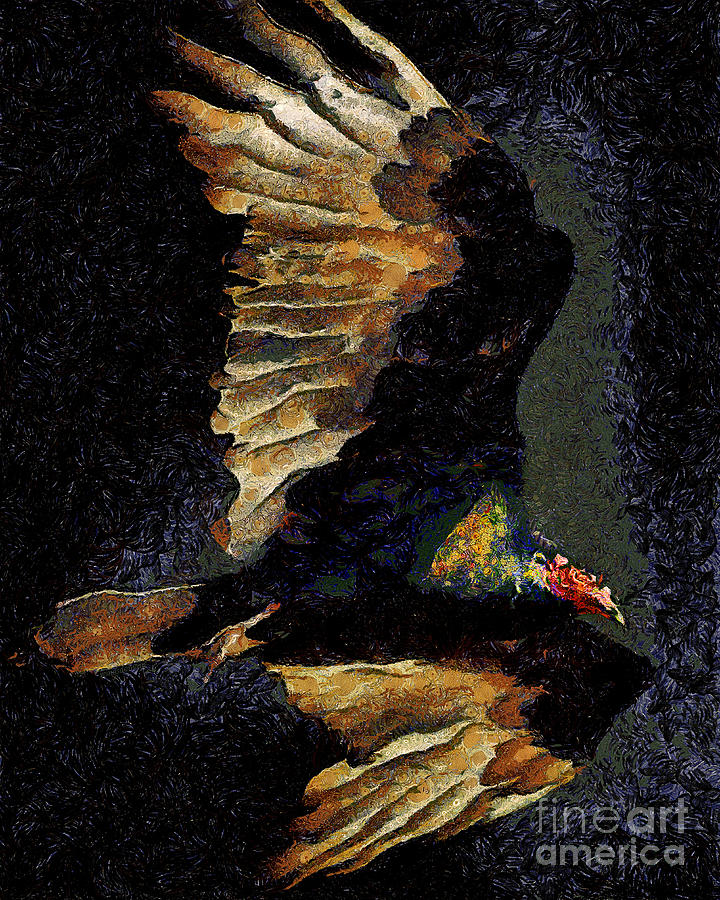 Bird Photograph - Vulture In Van Gogh.s Dream Returns . 40d8879 by Wingsdomain Art and Photography