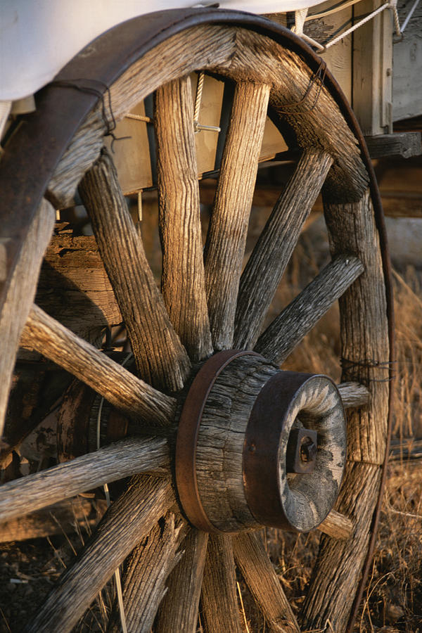 North America Photograph - Wagon Wheel On Covered Wagon At Bar 10 by Todd Gipstein