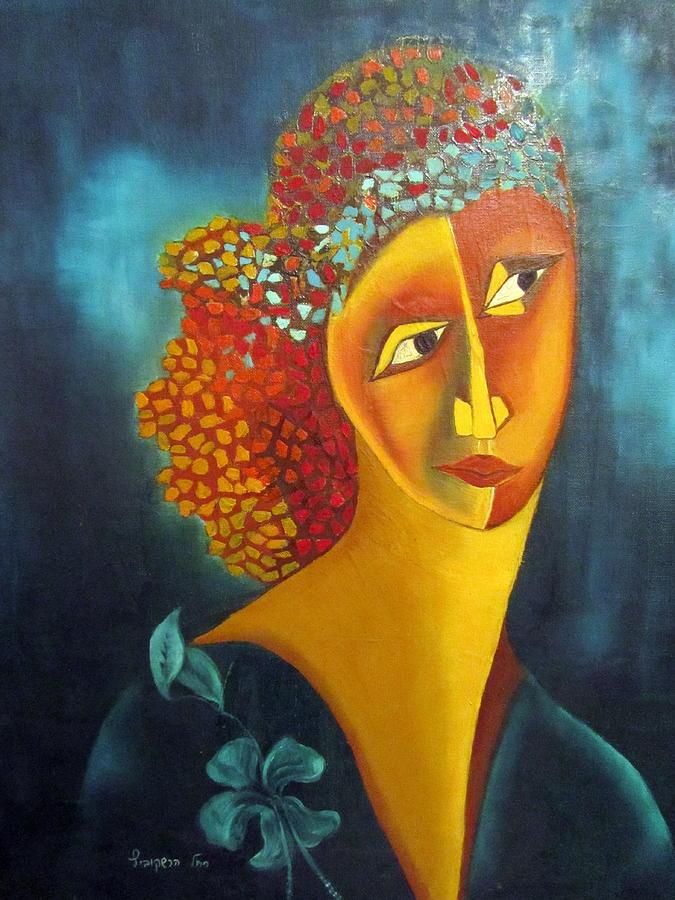 Orange Painting - Waiting For Partner Orange Woman Blue Cubist Face Torso Tinted Hair Bold Eyes Neck Flower On Dress by Rachel Hershkovitz