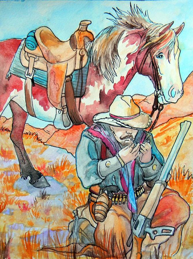 Cowboy Painting - Waiting For Sunset by Jenn Cunningham