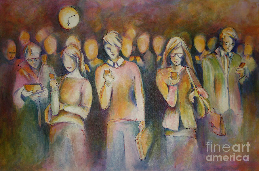 People Painting - Waiting For The 6 15 Train by Sandra Taylor-Hedges