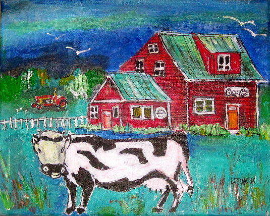Cows Painting - Waiting For The Farmer by Michael Litvack