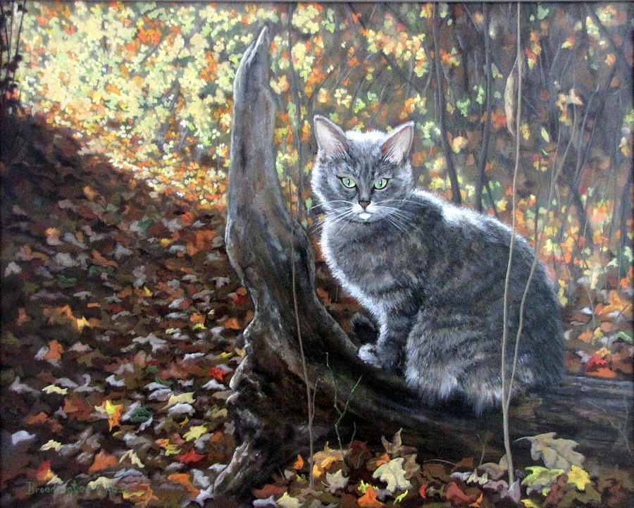 Kitten Painting - Waiting In The Woods by Sandra Chase