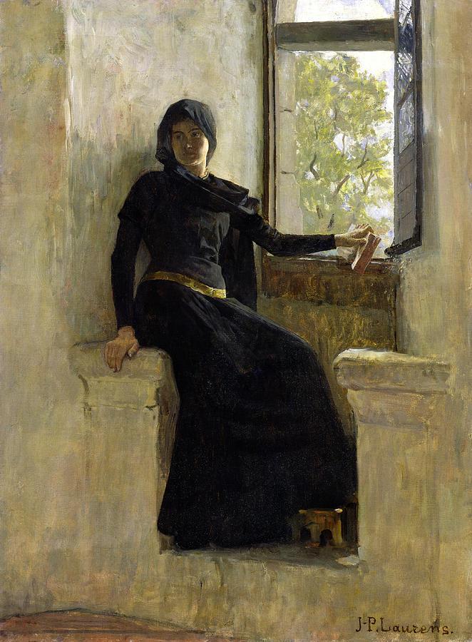 Female; Window; Seated; Black Dress; Medieval  Costume; Portrait; Siege Painting - Waiting by Jean Pierre Laurens