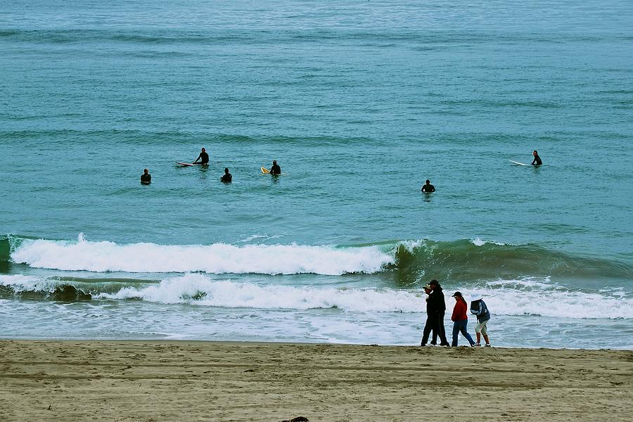 Beach Photograph - Waiting Surfers by Eric Tressler
