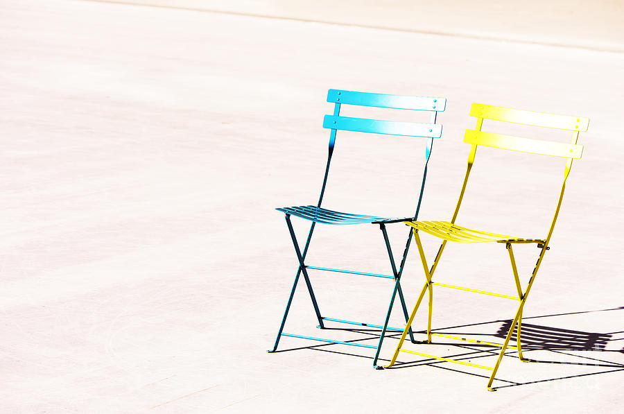 Chairs Photograph - Waiting Together by Anca Jugarean