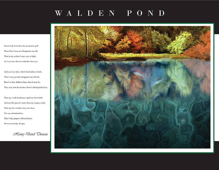 Walden Digital Art - Walden Pond by David Glotfelty