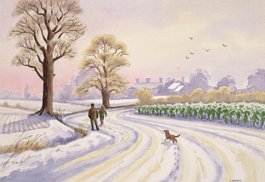 Winter Painting - Walk In The Snow by Lavinia Hamer