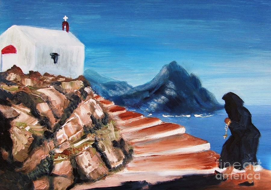 Church Painting - Walk Of Faith by Therese Alcorn